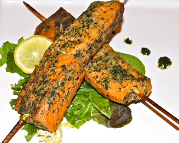 Salmon skewers for BBQ